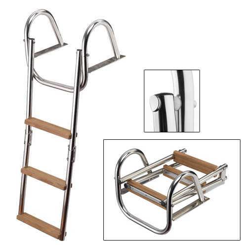 Scaletta pieghevole con corrimano e gradini in legno per for Gradini in legno massello prezzo